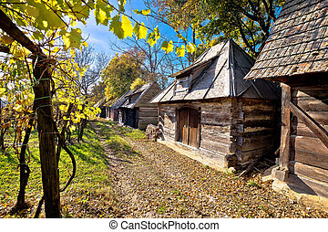 Historic wooden cottages street Ilica