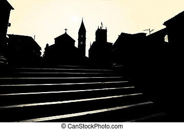 Supetar church and landmarks black and white silhouette...