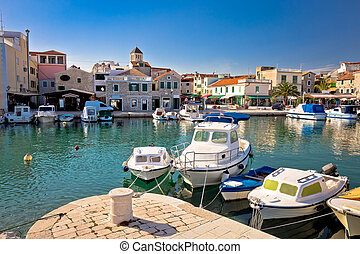 Town of Vodice tourist waterfront view, Dalmatia, Croatia
