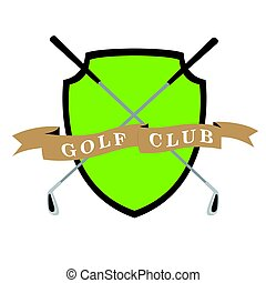 Isolated golf emblem with a pair of clubs, Vector...