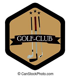 Isolated golf emblem with a group of clubs, Vector...