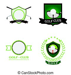 Set of golf emblems with ribbons, Vector illustration