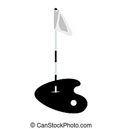 Isolated golf hole on a white background, Vector...