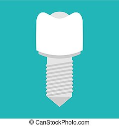 Implant with thread. Artificial tooth. Dentist illustration