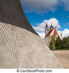 Magdeburg - Flag monument and St. Johannis-Church on the...