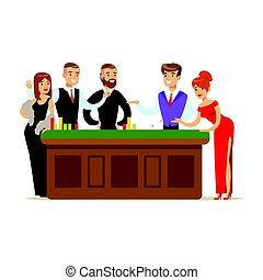 Happy people gambling at table in casino. Colorful cartoon character vector Illustration
