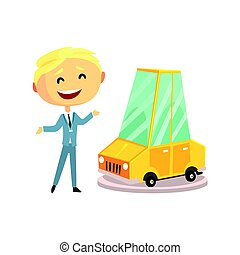 Happy smiling car sales consultant at new car showroom. Colorful character vector Illustration