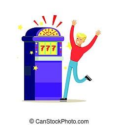 Man winning jackpot at slot machine. Colorful cartoon...