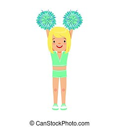 Cute little blond girl dancing with blue pompoms. Colorful cartoon character vector Illustration