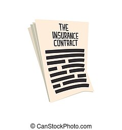 Car insurance contract. Form of auto insurance. Colorful...
