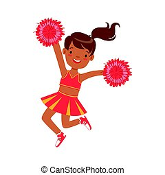Smiling little cheerleader dancing with red pompoms. Colorful cartoon character vector Illustration