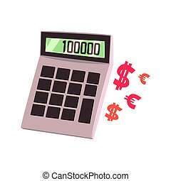 Calculator showing one hundred thousand. Colorful cartoon...