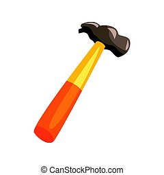 Carpenter hammer with yellow handle. Colorful cartoon vector Illustration