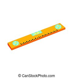Yellow bubble level, device for checking the vertical and horizontal levels. Colorful cartoon vector Illustration