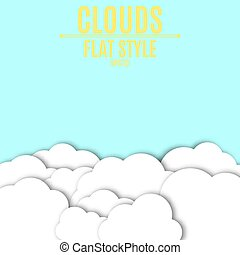 Paper white clouds with shadow. Light blue background for your projects. Empty place for text. Vector illustration in a flat style