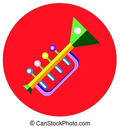 Icons trumpet of toys in the flat style. Vector image on a round colored background. Element of design, interface.