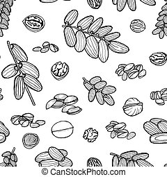 seamless pattern hand sketched nuts - Monochrome art...