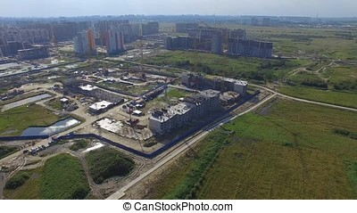 Aerial view on construction building. Construction site...