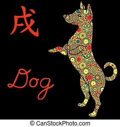 Standing Dog with color flowers over black - Standing Dog...