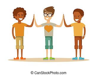 mixed-race Pupils giving each other a high five - Three...