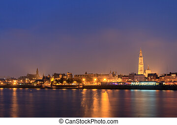 Antwerp skyline at night - Beautiful cityscape of the...
