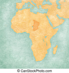 Map of Africa - Chad - Chad on the map of Africa in soft...