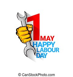 Happy labour day vector label with strong orange fist...
