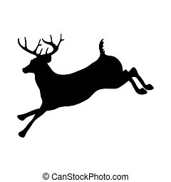 Silhouette of a young male deer - vector illustration.