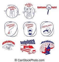 Doodle Medical Logos And Labels Set - Doodle medical logos...