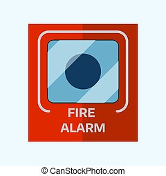 Fire alarm box on wall for warning security wall bell button...