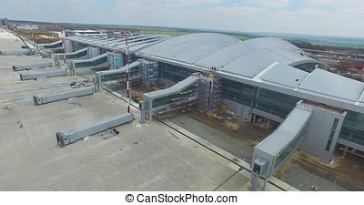 Aerial view of the modern international airport terminal....
