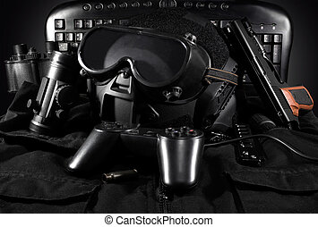 Tactical gear & gamepad. - Tactical helmet, gloves, gun,...