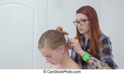 Professional hairdresser doing hairstyle for client -...