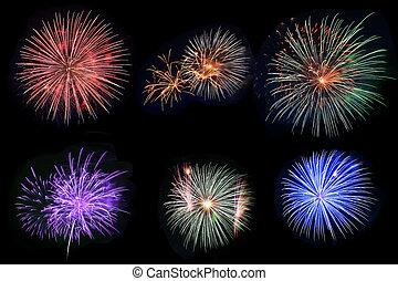 Fireworks Set - Set of six fireworks over black background...
