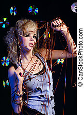 cd versus audio tape - potrait of beautiful blonde girl glam...