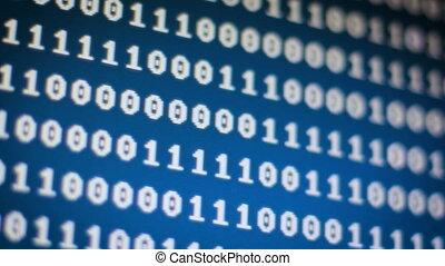 Close up shot Random binary digi number 0 and 1 over dark...
