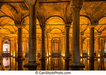 The Basilica Cistern - underground water reservoir build by...