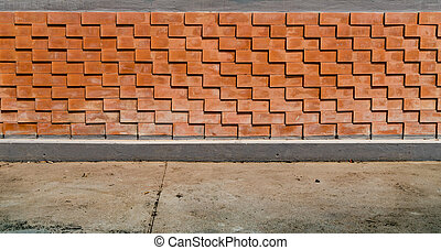 Brown Brick fence - Brown brick fence with modern pattern...