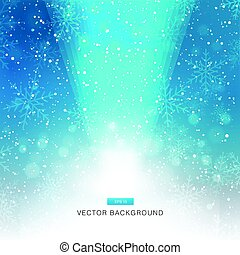falling snow on the blue background with light