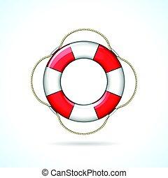 life buoy icon - Illustration of life buoy icon on white...