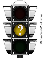 3d Traffic light with question mark