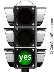 """3d Traffic light with inscription """"yes"""""""