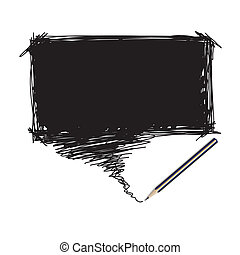 Pencil scribble with word bubble - Vector - Illustration of...