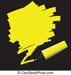 Highlighter Pen - Yellow highlighter pen with doodle