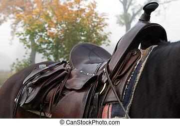 Horse Saddle - Detail of a horse saddle, horizontal shot