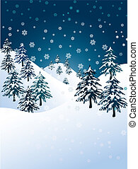 Vector winter background - snowflakes falling over evergreen...