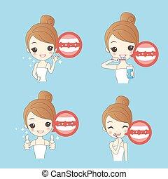 woamn teeth whitening - cartoon woamn thumb up with teeth...