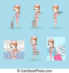 cartoon flight attendant smile to you on blue background