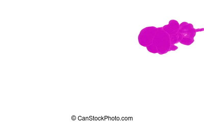 INK BACKGROUND FOR COMPOSITING. PINK SMOKE or INK IN WATER SERIES. Watercolor dropped in water on white background. Voxel graphics. Ink dissolving in water. Version 1