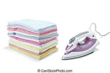 ironing clothes housework equipment - close up of ironing...